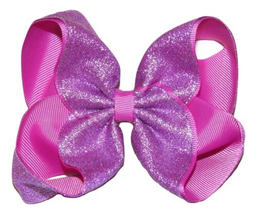"""NEW /""""SHIMMERY PURPLE/"""" Sparkly Hairbow Alligator Clips Girls Ribbon Bows 5 Inch"""
