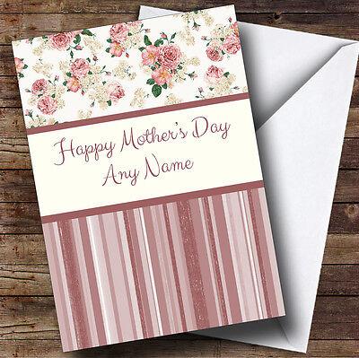 & A Righe Corallo Floreale Shabby Chic Personalizzata Madre's Giorno Saluti Card- Sentirsi A Proprio Agio