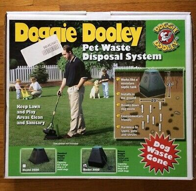 """Black with Lid Doggie Dooley /""""The Original in-Ground Dog Waste Disposal System"""