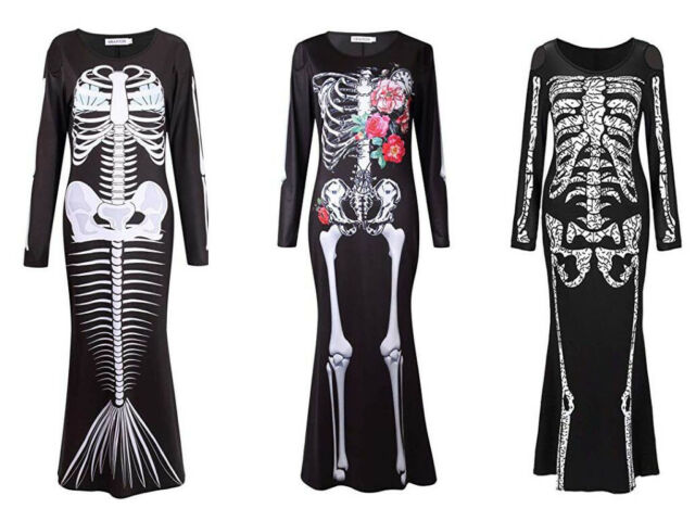 WOMENS SKELETON STRAP BODYSUIT HALLOWEEN FUNNY BONES FANCY DRESS SKULL COSTUME