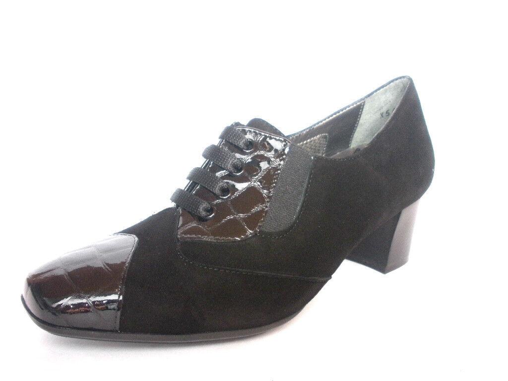 schuhe MELLUSO Damens X5400 COLORE NERO ALLACCIATE CON TACCO MADE IN ITALY Schuhe
