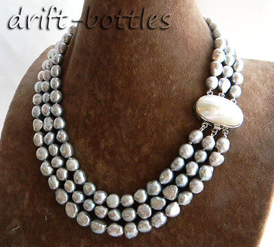 3Strands 18'' 9mm Gray Baroque Freshwater Pearl Necklace