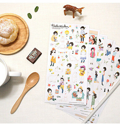 6 sheets The second season sweet girl heeda transparent notebook  Diary sticker