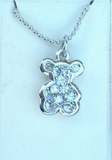 """Delightful Little Silver Tone & Clear Crystal Teddy Pendant & 18"""" Chain Necklace"""