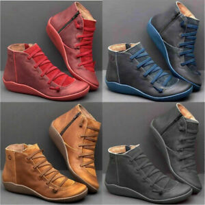 Women-039-s-Winter-Autumn-Arch-Support-Ankle-Boots-Side-Zip-Wedge-Heel-Flat-Shoes