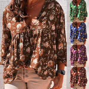 Plus-Size-Women-V-neck-Loose-Floral-Blouse-Long-Sleeve-T-Shirt-Summer-Beach-Tops