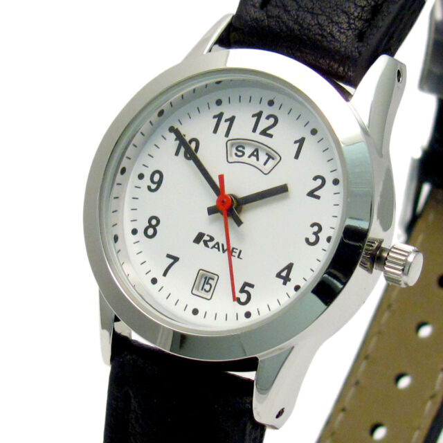 a8be4c2c280a9 Ladies Day Date Watch Silver Case With Black Faux Leather Strap by ...