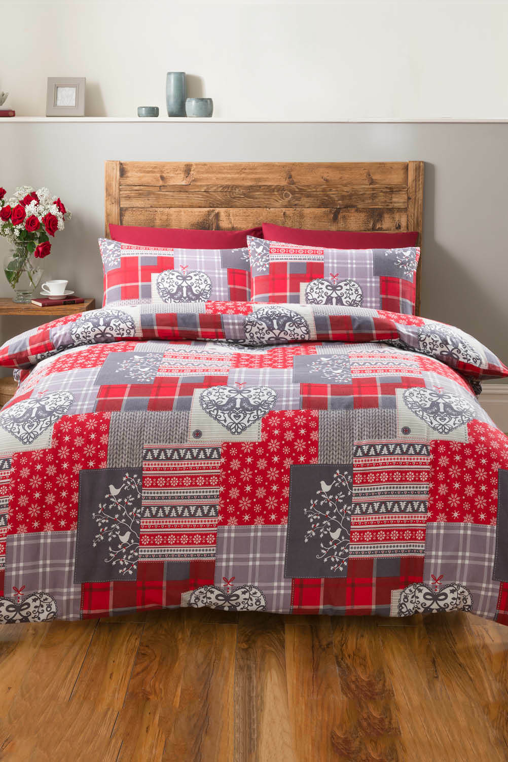 Alpine Patchwork Flannelette Duvet Set King Size Bedding Home Bedroom Super Soft