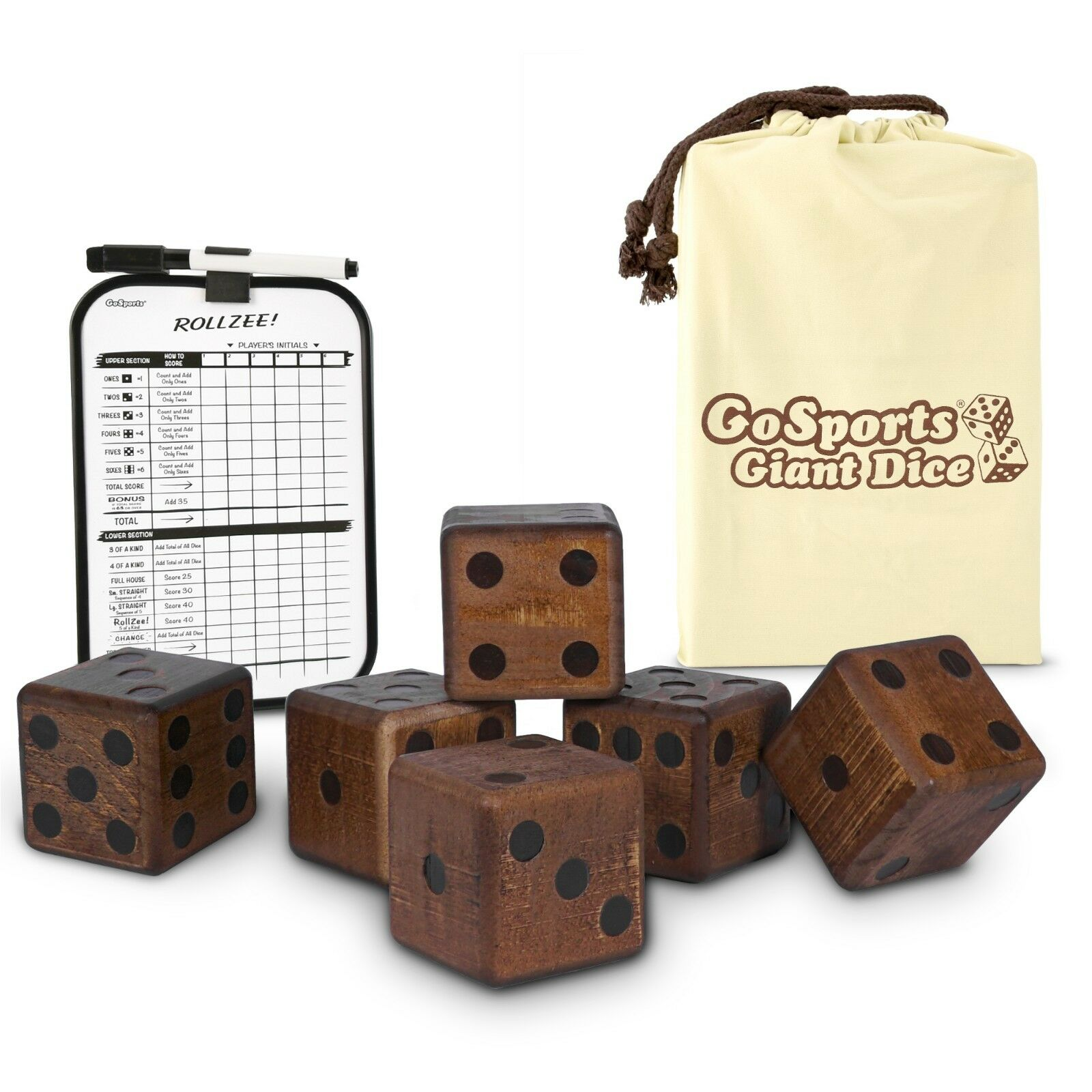 GoSports 3.5  Dark Stain Jumbo Wooden Yard Dice Set with Bonus Scoreboard