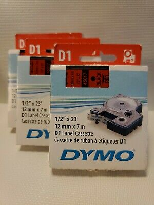 """1PK Black on Red label tape ½"""" x 23' standard For DYMO D1 45017 12mm x7m A45017"""