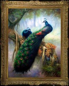 """Old Master-Art Antique Oil Painting animal Portrait Peacock on canvas 24""""x36"""""""