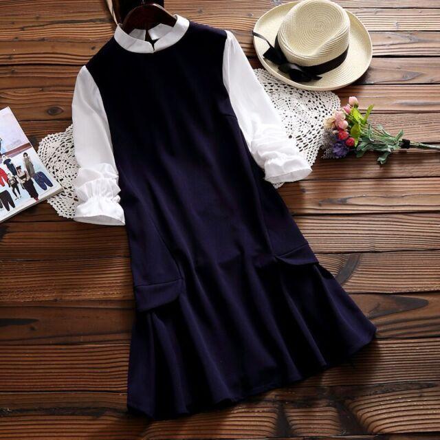 Mori Girls Artistic Vintage preppy style Long Sleeve Dress Princess Lolita#AWK43
