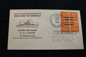 Naval-Housse-1954-Bateau-Cancel-Welcome-Norfolk-Pays-Bas-Cruiser-de-Ruyter-6286