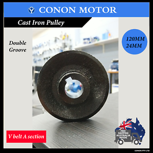 Dooble-groove-Pulley-120mm-shaft-size-24mm-for-electric-motor-Cast-Iron-Made