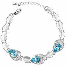 New Swarovski Element Crystal  Blue Argent Colour Fashion Chain Bracelet