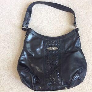 Elliott Lucca Shoulder Bag Black Hobo Silver Trim Leather Handbag ... 87a3ce544333f
