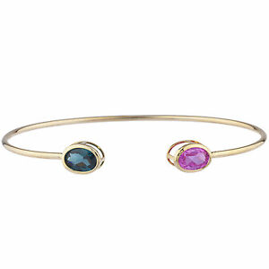 14Kt-Yellow-Gold-Plated-Pink-Sapphire-amp-London-Blue-Topaz-Oval-Bezel-Bangle
