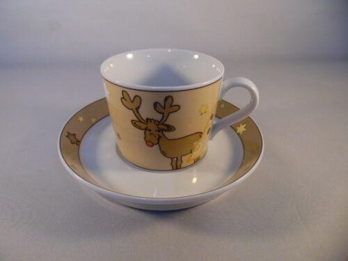 Arzberg Tric Santas Reindeer Kaffeetasse Untertasse weiß gold  neu Weihnachten