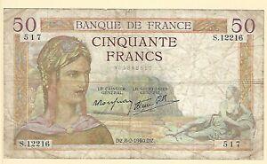 1940-France-50-Francs-Banknote-Ceres-Agriculture-Goddess-Caduceus
