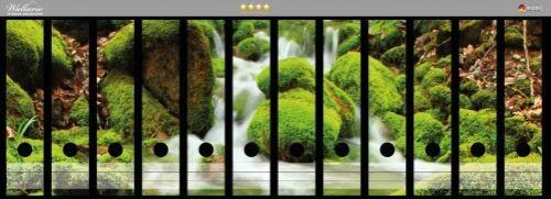 Wallario Ordnerrücken selbstklebend für 12 breite Ordner Moosiger Bach Wald