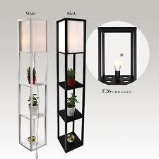 LED Floor Lamp Storage Shelf Standing Wood Light Adjustable Fabric Linen Shade