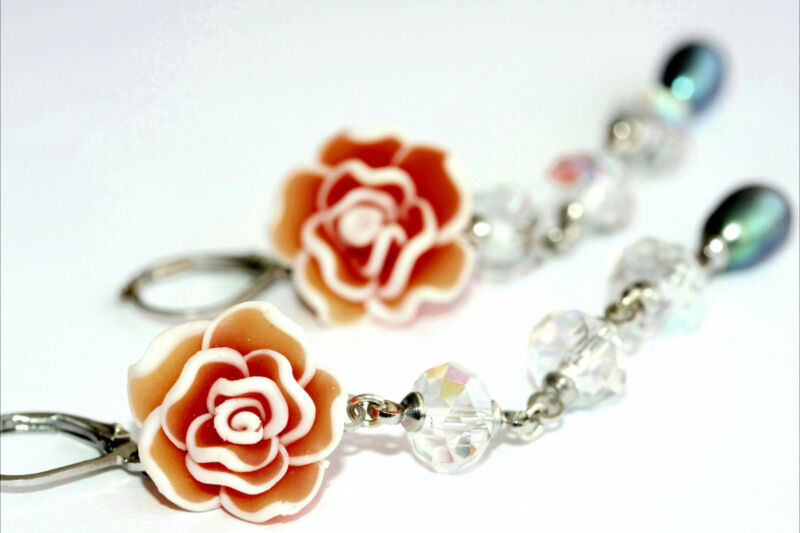 Hand Crafted Fimo Dangle Earrings - Red Rose, Swarovski & Pearl