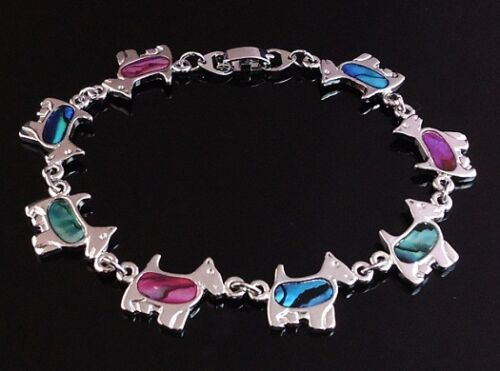 Adorable Terrier Westie  Bracelet with Paua Shell Inlay 7.5 inch or 19 cm