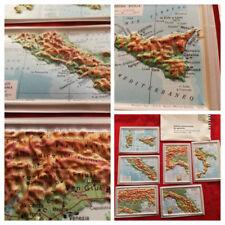 lotto deagostini 6 carte geografiche a rilievo italia 1973
