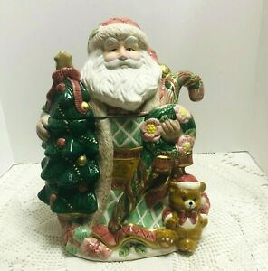 Vtg-Santa-Cookie-Jar-Christmas-Tree-Teddy-Bear-Candy-Cane-Mercuries-China
