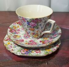 """Lord Nelson """"Marina"""" Chintz Tea Cup & Saucer & Square Plate TRIO!!!"""