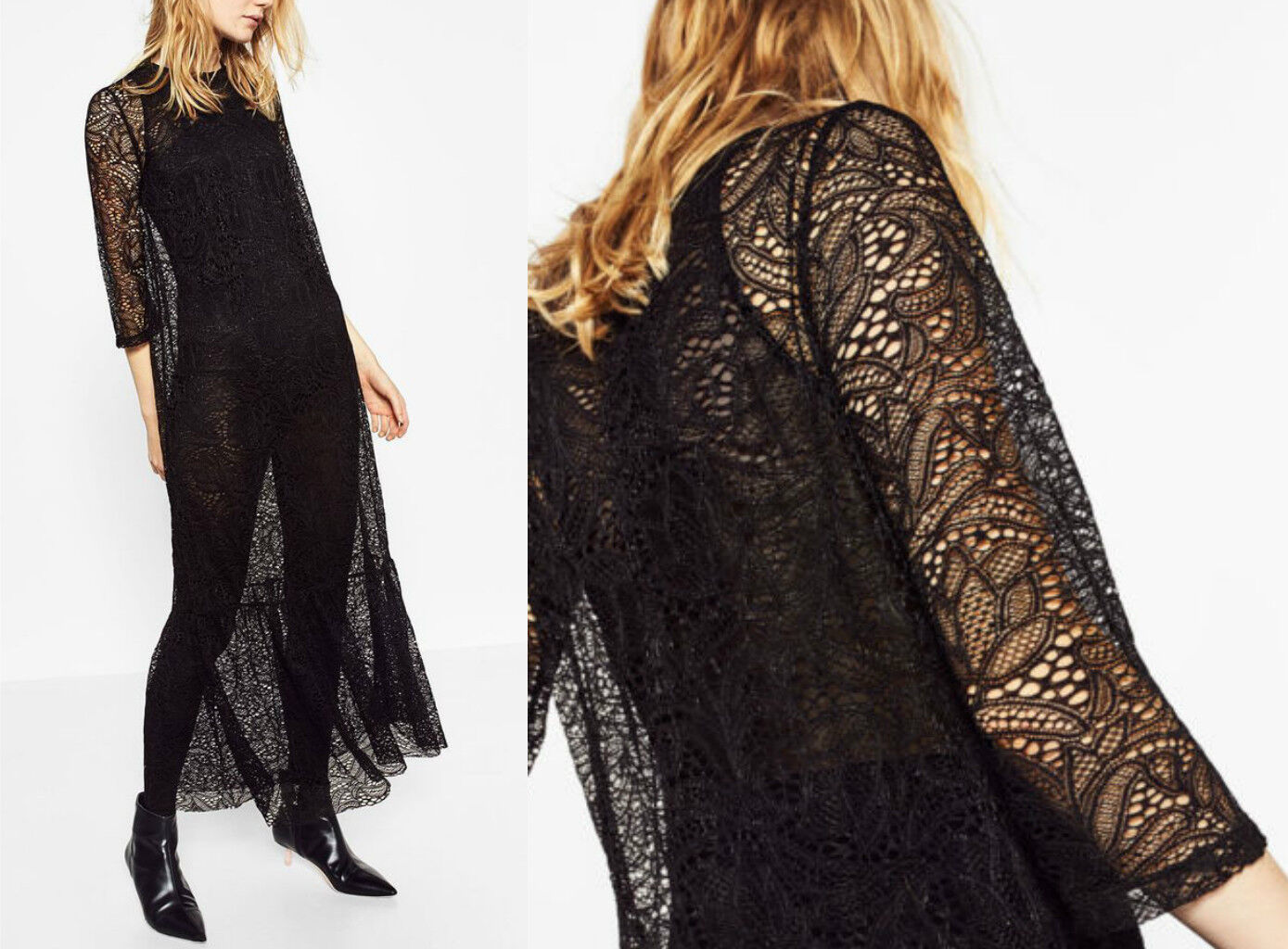 Zara LACE MAXI LONG DRESS Frilled Hem abito in pizzo pizzo volant S M