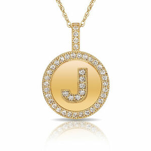 14k solid yellow gold round circle initial j letter charm pendant image is loading 14k solid yellow gold round circle initial 034 aloadofball Image collections