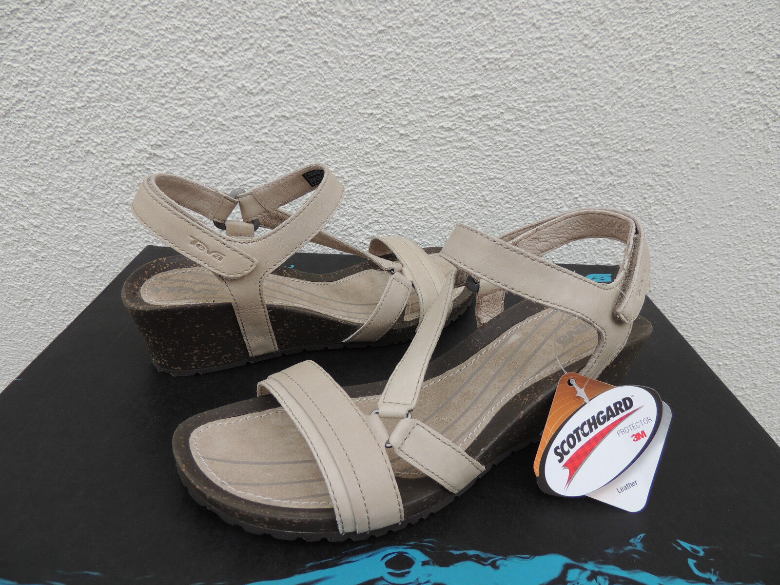 TEVA DUNE CABRILLO CredVER WEDGE LEATHER SANDALS, US 6  EUR 37 NIB