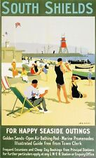 Happy Seaside Outings South Shields Railway Travel A3 Art Poster Print