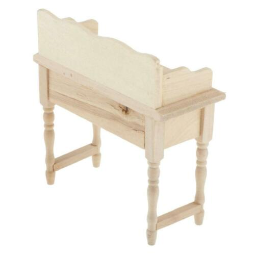 Wooden Furniture Study Desk Makeup Vanity Table with Drawer for 1//12 Dollhouse