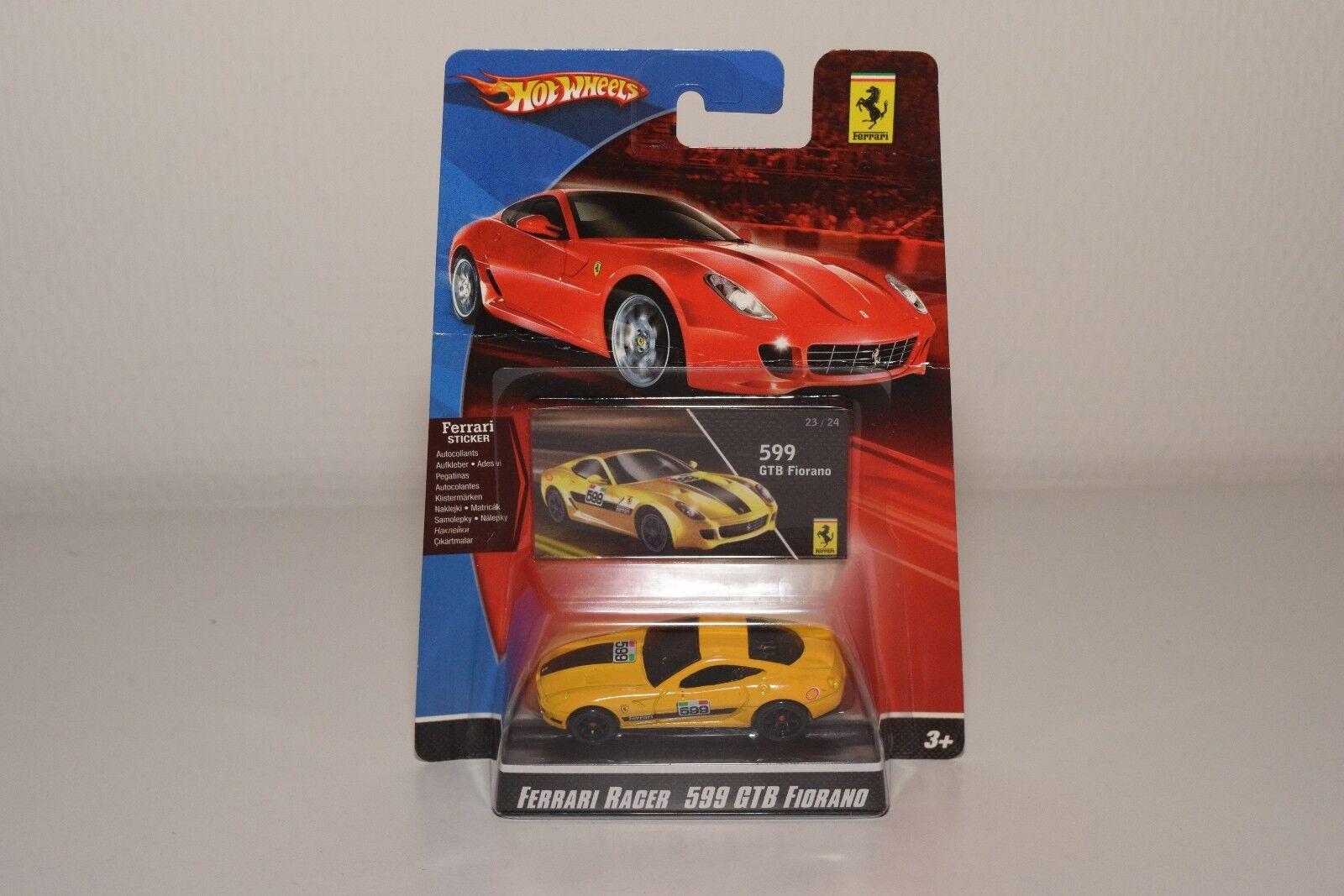 V 1 64 HOTWHEELS RACER FERRARI 599 GTB 599GTB FIORANO YELLOW MINT ON CARD RARE