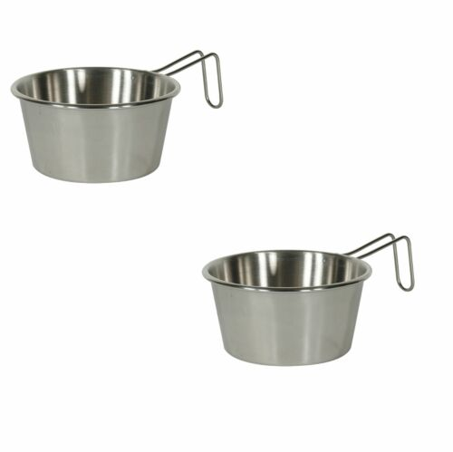 2 Stainless Steel 16oz Enlarged Sierra Cup Rim Campfire Camping Survival Water
