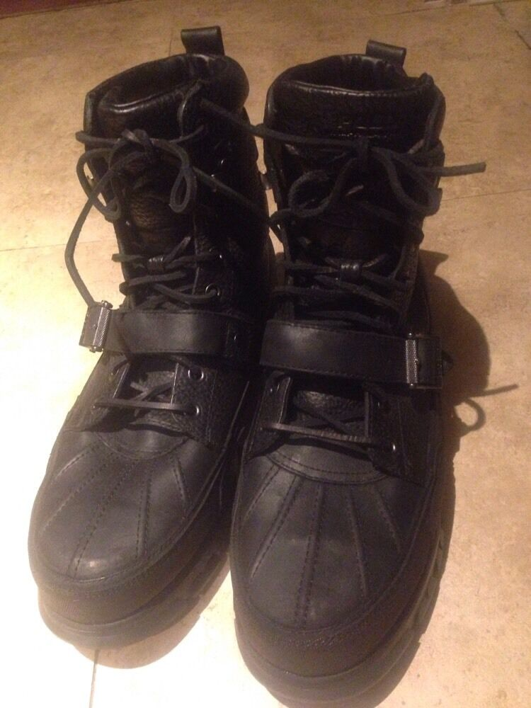 POLO RALPH LAUREN Mens Brennen Black Hiking Leather Hiking Black Snow Boots Sz 12D 03a055