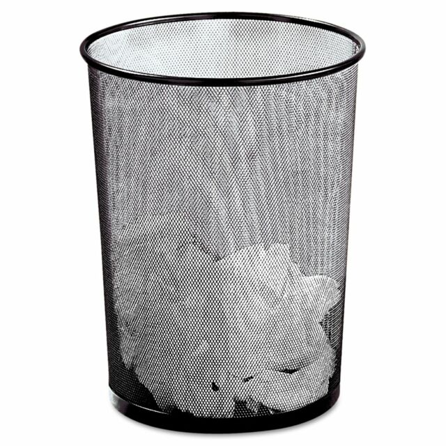 Eldon Expressions Mesh Black Metal Wastebasket Office Desk Garbage Trash Can