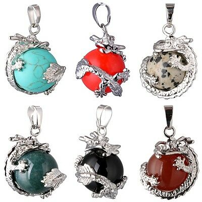Retro Dragon Wrap Gemstone Gems Inlaid Ball Charm Pendant Bead For Necklace L59