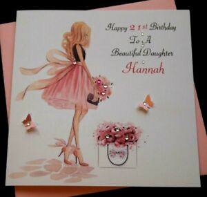 Image Is Loading Handmade Birthday Card Personalised 16th 21st 40th Daughter