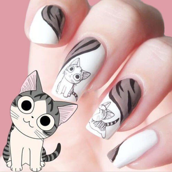 2Sheets 3D Black Cute Cat Design Nail Art Sticker Manicure Decal Tips Decoration