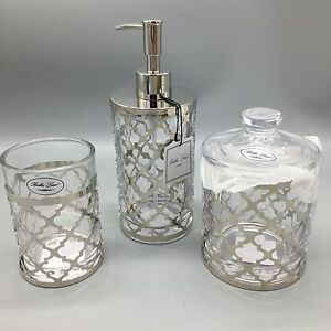 3 bella lux quatrefoil chrome glass soap dispenser for Bella lux bathroom accessories uk