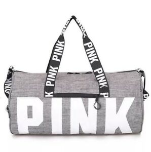 Image Is Loading New Pink Grey Canvas Duffle Bag Yoga Holiday