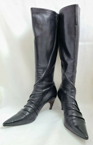 Angelo Figus Black Leather Knee High Boots 41 Ital
