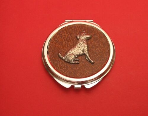 Jack Russell Terrier Motif on Brown Faux Leather Top Compact Mirror Mother Gift
