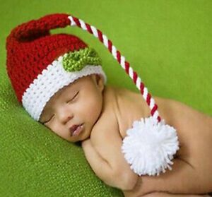 abceb7b0587 Newborn Baby Boys Girls Christmas Santa Claus Knit Hat Photography ...