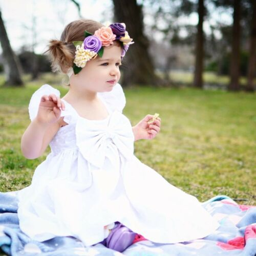 oddler Baby Girls Fashion Bowknot Cutton Outfits Kids Party Clothes Set New