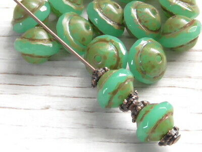 15 7mm Czech Glass Cobalt Aqua Blend Picasso Saturn Saucer Beads