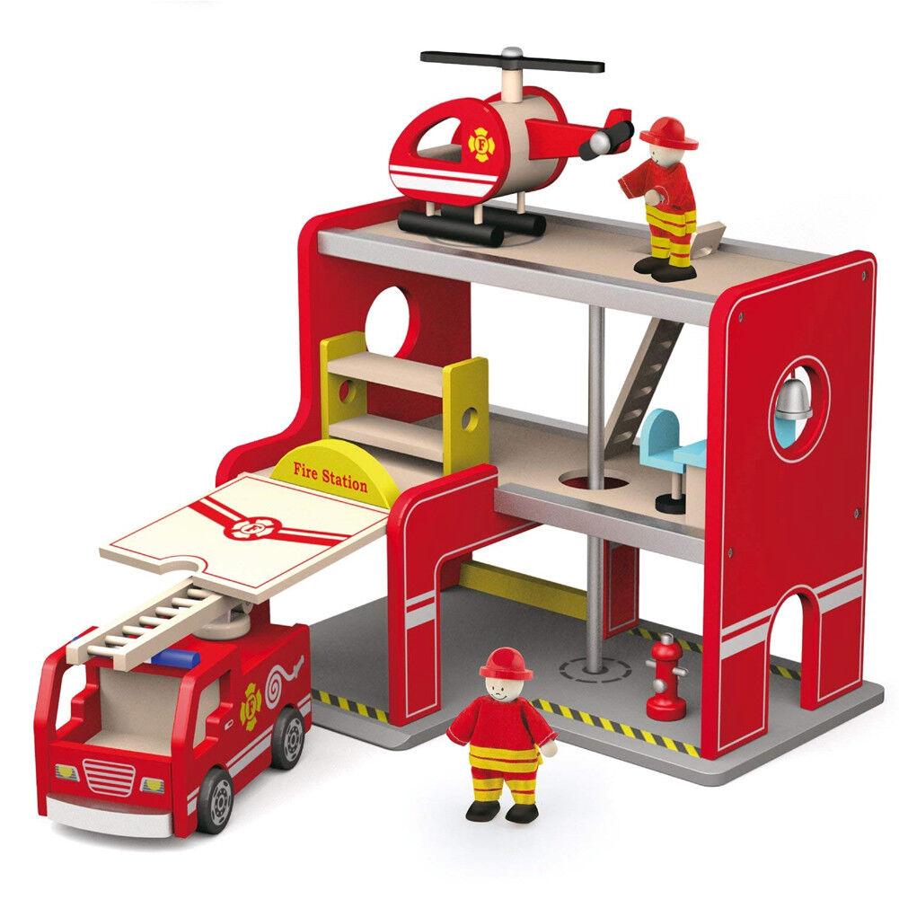 Stazione dei Pompieri in Legno con Camion Vigili del Fuoco Elicottero Accessori